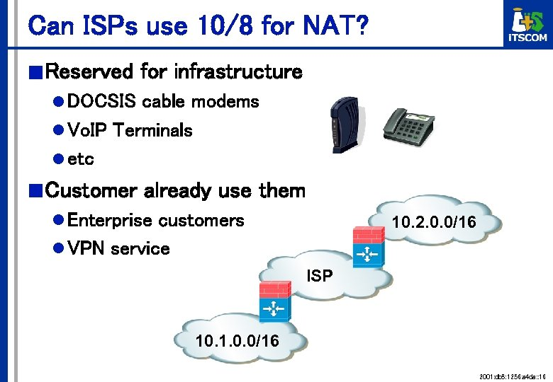 Can ISPs use 10/8 for NAT? ■ Reserved for infrastructure l DOCSIS cable modems