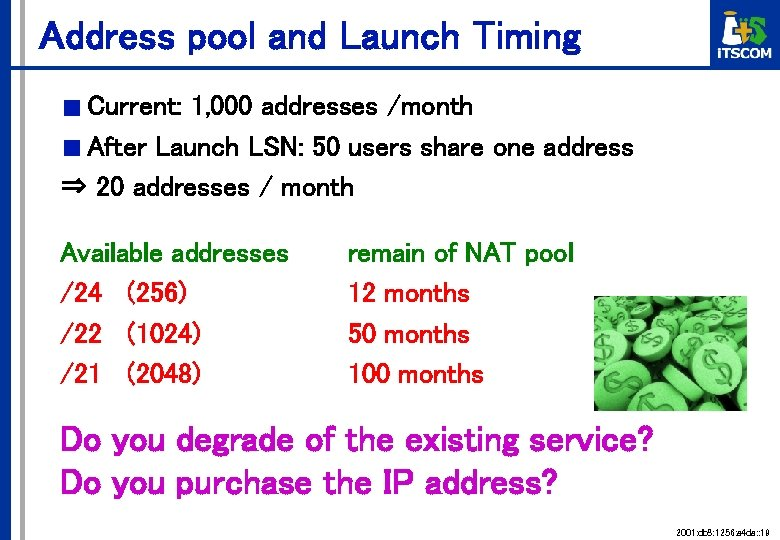 Address pool and Launch Timing ■ Current: 1, 000 addresses /month ■ After Launch