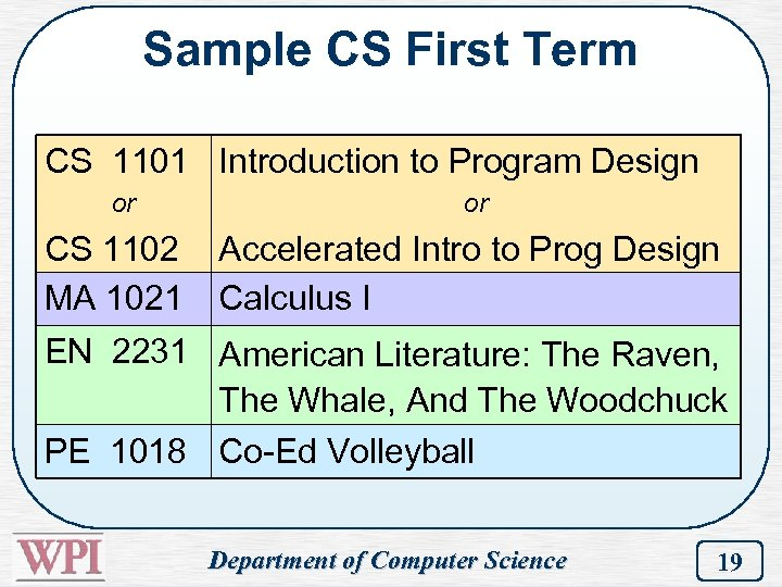 Sample CS First Term CS 1101 Introduction to Program Design or CS 1102 MA