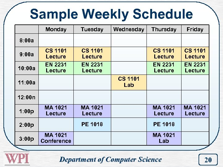 Sample Weekly Schedule Monday Tuesday CS 1101 Lecture EN 2231 Lecture Wednesday Thursday Friday