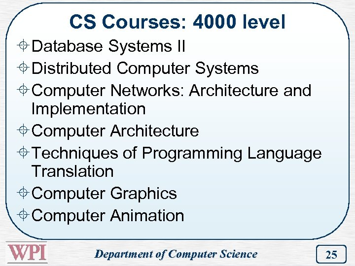 CS Courses: 4000 level ±Database Systems II ±Distributed Computer Systems ±Computer Networks: Architecture and