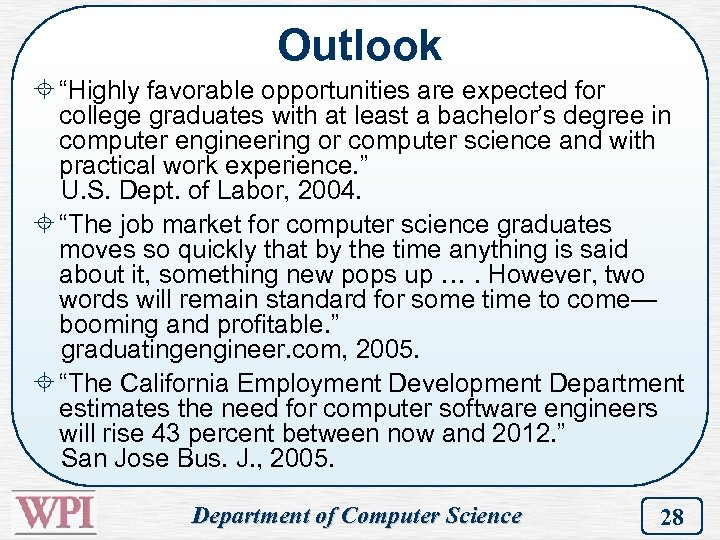 "Outlook ± ""Highly favorable opportunities are expected for college graduates with at least a"