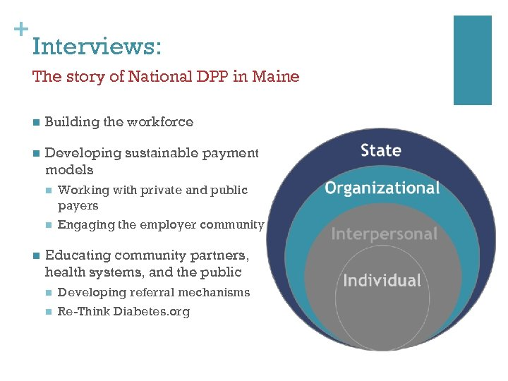 + Interviews: The story of National DPP in Maine n Building the workforce n