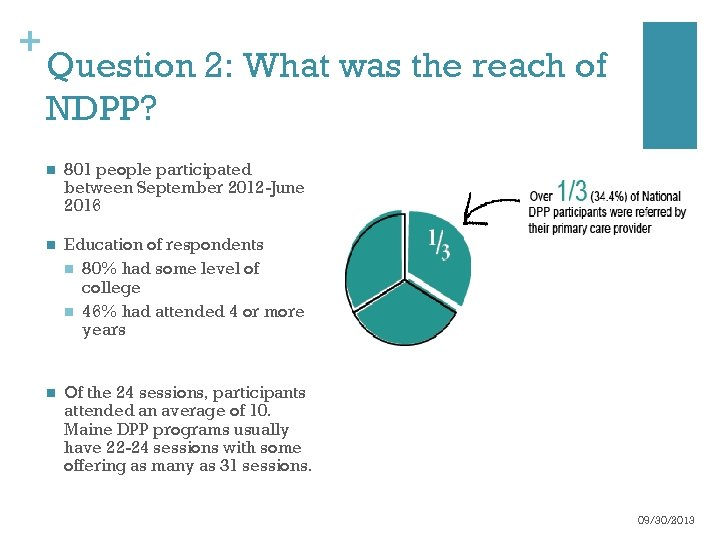 + Question 2: What was the reach of NDPP? n 801 people participated between
