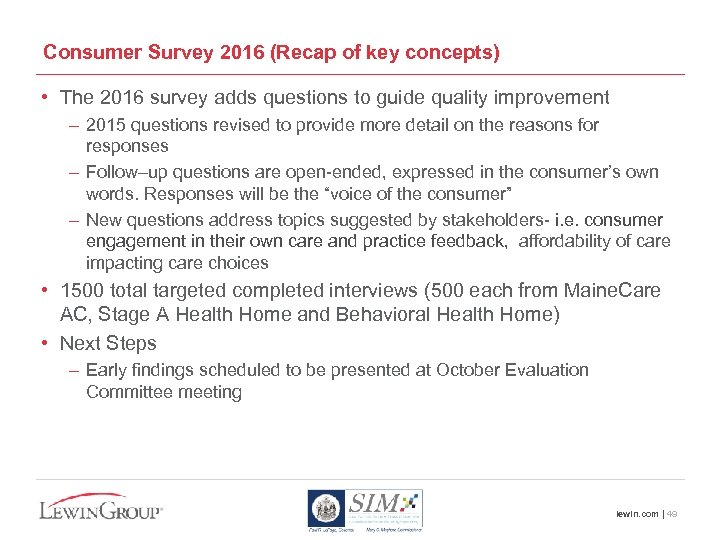 Consumer Survey 2016 (Recap of key concepts) • The 2016 survey adds questions to