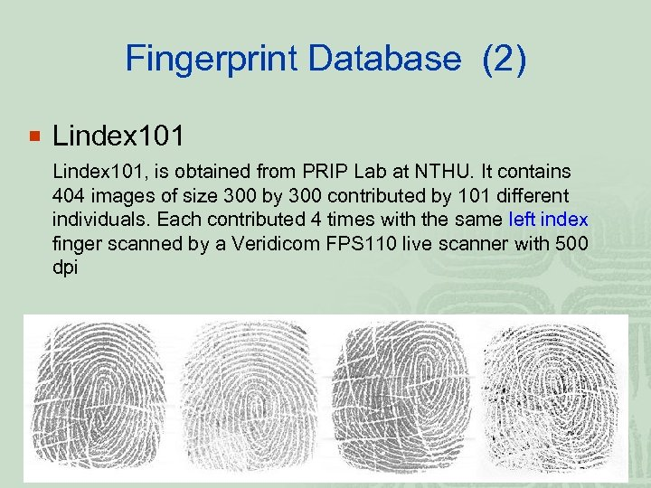 Fingerprint Database (2) ¡ Lindex 101, is obtained from PRIP Lab at NTHU. It