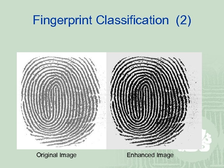Fingerprint Classification (2) Original Image Enhanced Image
