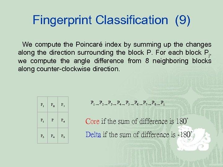 Fingerprint Classification (9) We compute the Poincaré index by summing up the changes along