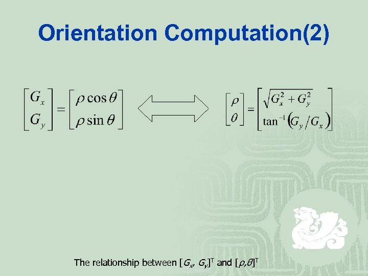 Orientation Computation(2) The relationship between [Gx, Gy]T and [ρ, θ]T