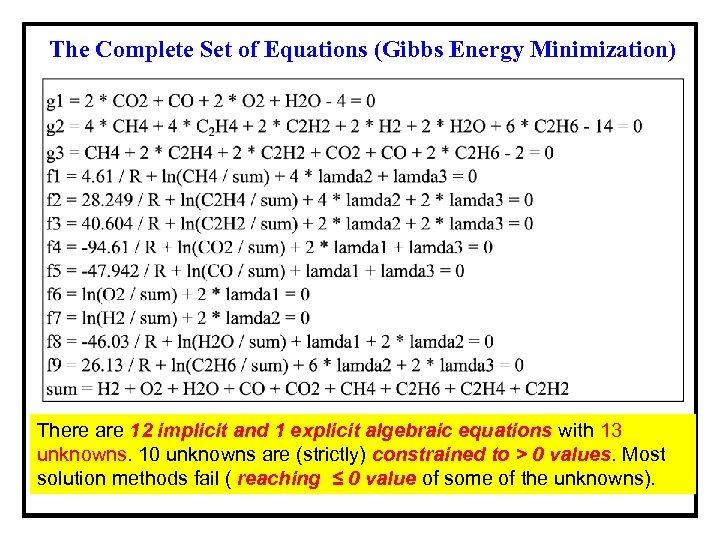The Complete Set of Equations (Gibbs Energy Minimization) There are 12 implicit and 1