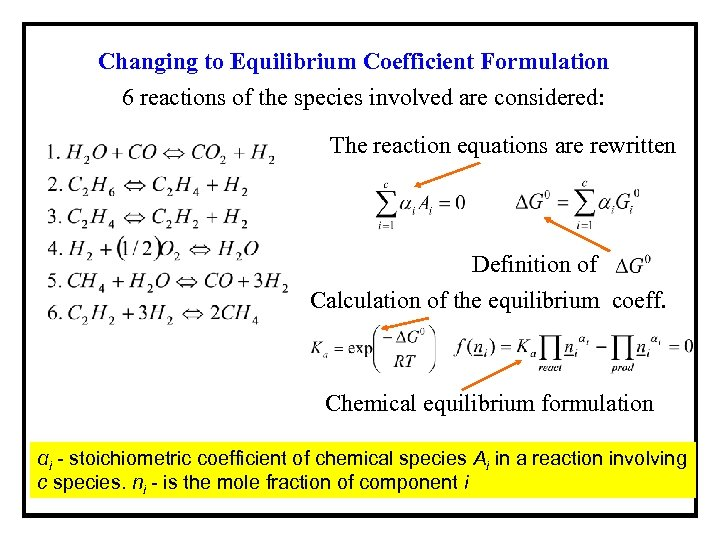 Changing to Equilibrium Coefficient Formulation 6 reactions of the species involved are considered: The