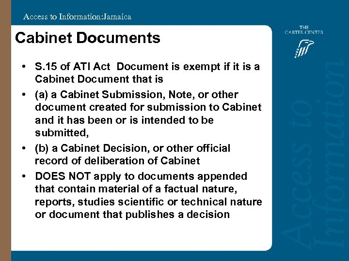 Access to Information: Jamaica Cabinet Documents • S. 15 of ATI Act Document is