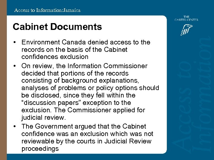 Access to Information: Jamaica Cabinet Documents • Environment Canada denied access to the records
