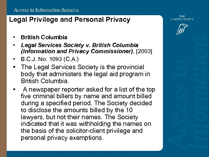 Access to Information: Jamaica Legal Privilege and Personal Privacy • British Columbia • Legal