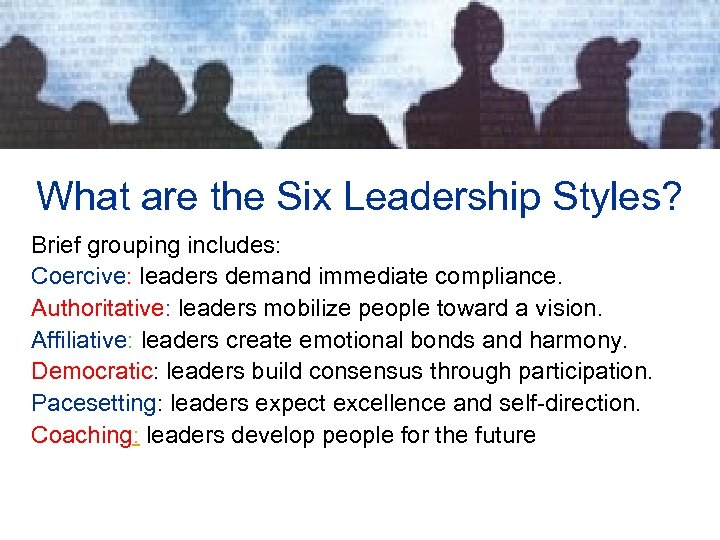 leadership brief Leadership—how to direct and coordinate, assign tasks, motivate team members, facilitate optimal performance situation monitoring —how to develop common understanding of team environment, apply strategies to monitor teammate performance ,and maintain a shared mental model.