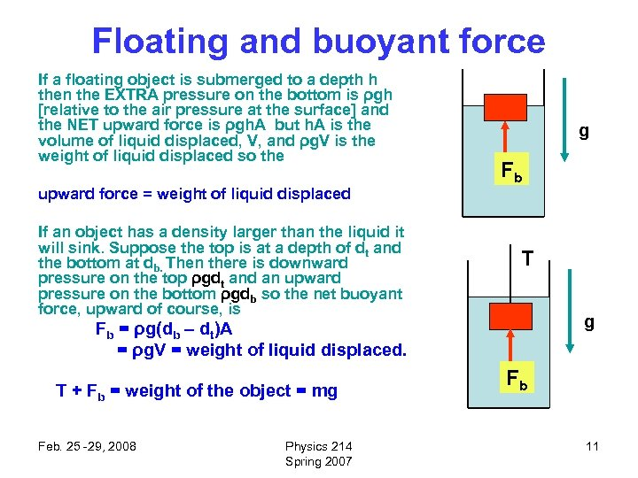 Floating and buoyant force If a floating object is submerged to a depth h