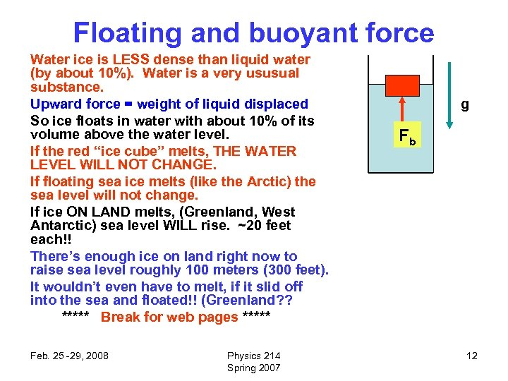 Floating and buoyant force Water ice is LESS dense than liquid water (by about