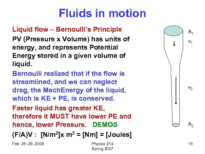 Fluids in motion Liquid flow – Bernoulli's Principle PV (Pressure x Volume) has units