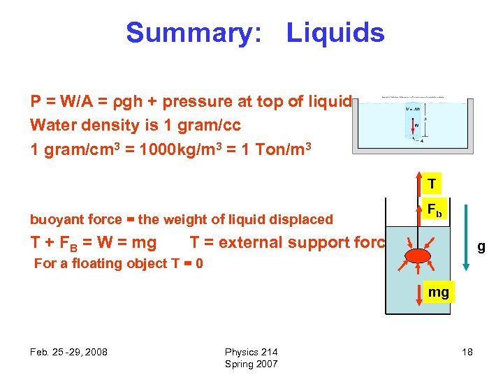 Summary: Liquids P = W/A = ρgh + pressure at top of liquid Water