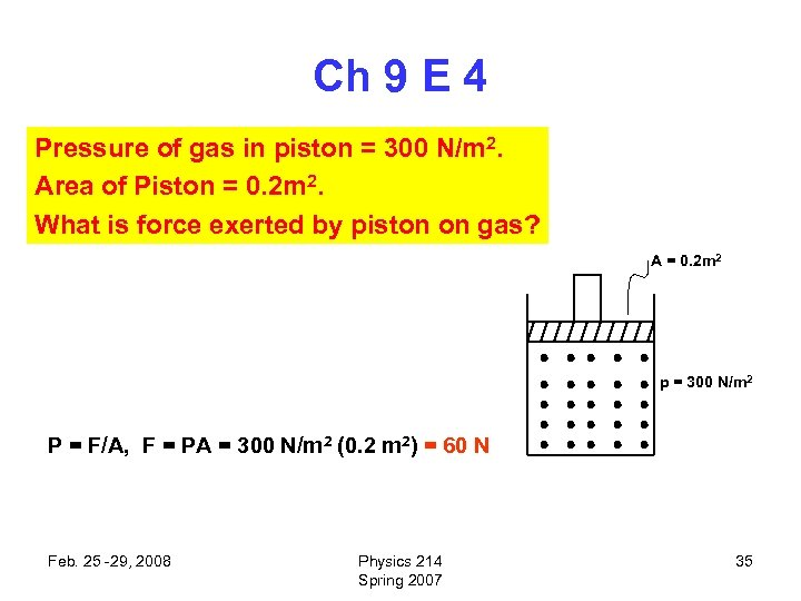 Ch 9 E 4 Pressure of gas in piston = 300 N/m 2. Area