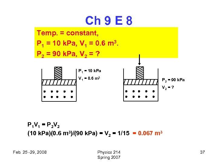 Ch 9 E 8 Temp. = constant, P 1 = 10 k. Pa, V