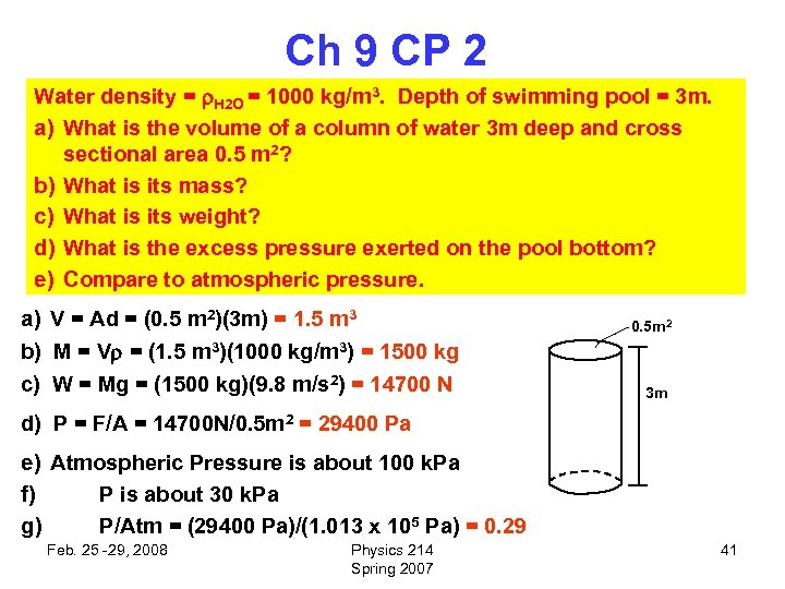 Ch 9 CP 2 Water density = H 2 O = 1000 kg/m 3.