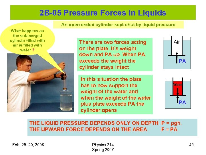 2 B-05 Pressure Forces in Liquids An open ended cylinder kept shut by liquid
