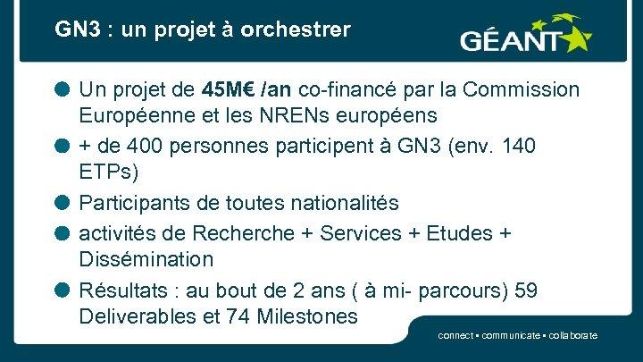 GN 3 : un projet à orchestrer Un projet de 45 M€ /an co-financé