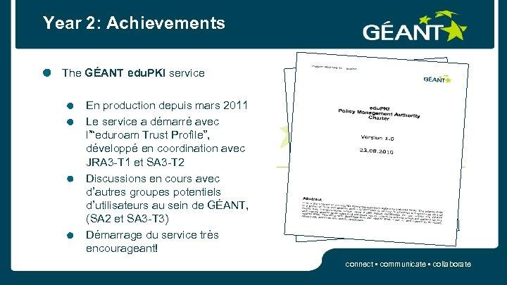 Year 2: Achievements The GÉANT edu. PKI service En production depuis mars 2011 Le