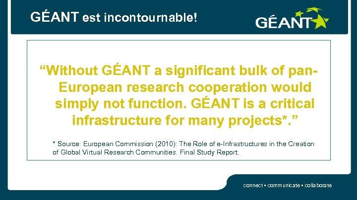"GÉANT est incontournable! ""Without GÉANT a significant bulk of pan. European research cooperation would"