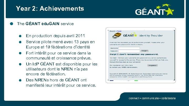Year 2: Achievements The GÉANT edu. GAIN service En production depuis avril 2011 Service