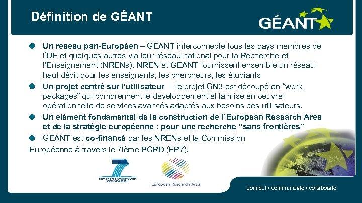 Définition de GÉANT Un réseau pan-Européen – GÉANT interconnecte tous les pays membres de