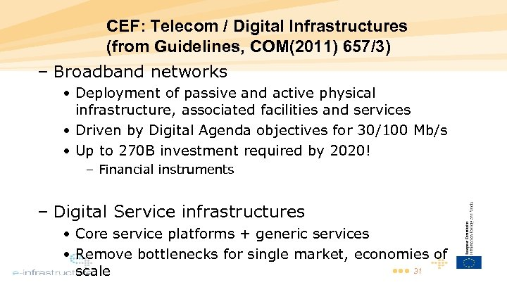 CEF: Telecom / Digital Infrastructures (from Guidelines, COM(2011) 657/3) – Broadband networks • Deployment