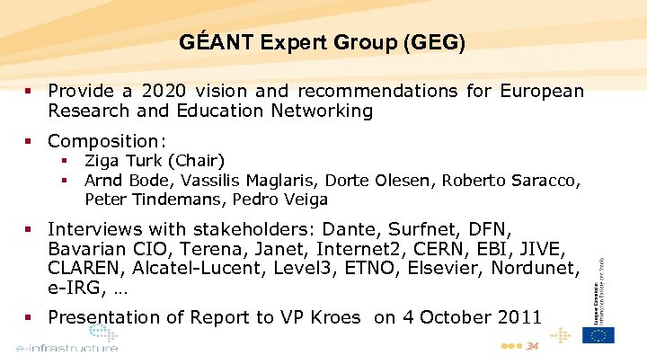 GÉANT Expert Group (GEG) Provide a 2020 vision and recommendations for European Research and