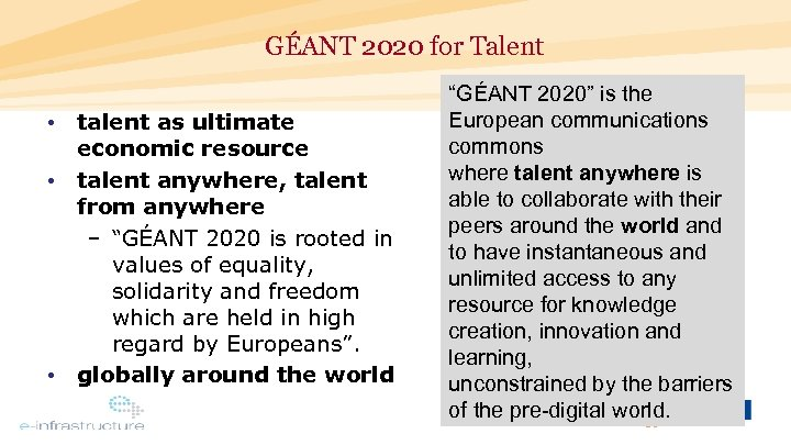 GÉANT 2020 for Talent • talent as ultimate economic resource • talent anywhere, talent