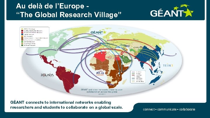 "Au delà de l'Europe ""The Global Research Village"" GÉANT connects to international networks enabling"