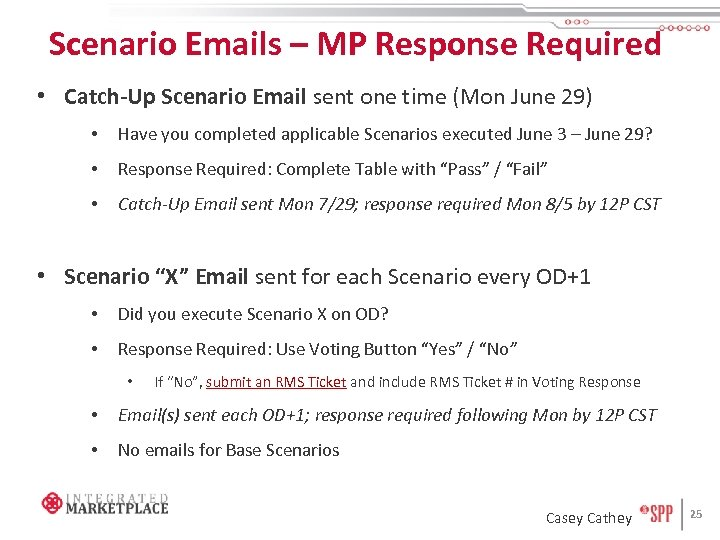 Scenario Emails – MP Response Required • Catch-Up Scenario Email sent one time (Mon