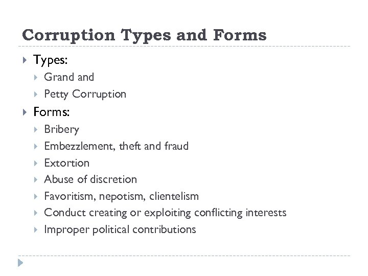 Corruption Types and Forms Types: Grand Petty Corruption Forms: Bribery Embezzlement, theft and fraud