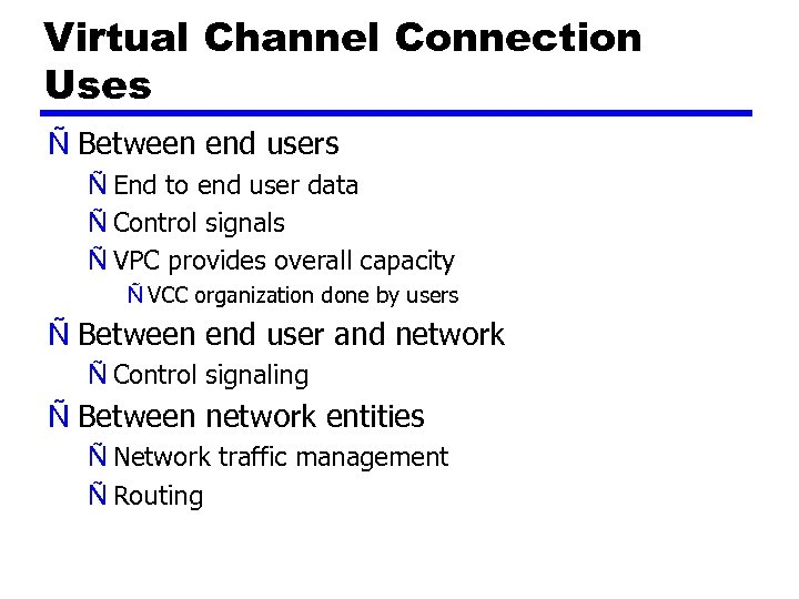 Virtual Channel Connection Uses Ñ Between end users Ñ End to end user data