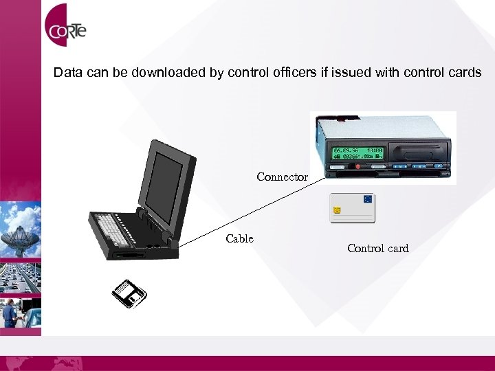 Data can be downloaded by control officers if issued with control cards Connector Cable