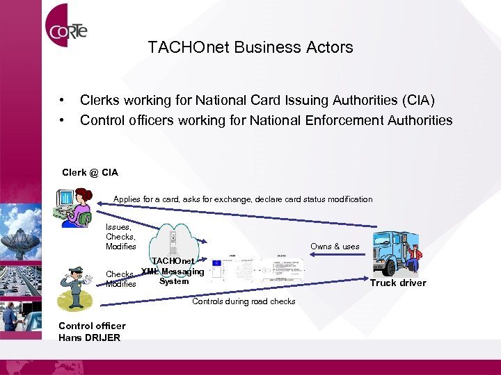 TACHOnet Business Actors • • Clerks working for National Card Issuing Authorities (CIA) Control