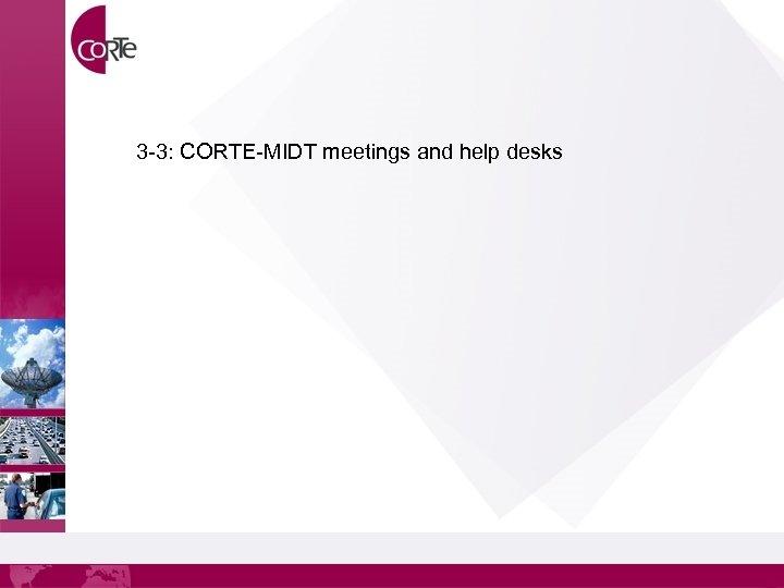 3 -3: CORTE-MIDT meetings and help desks