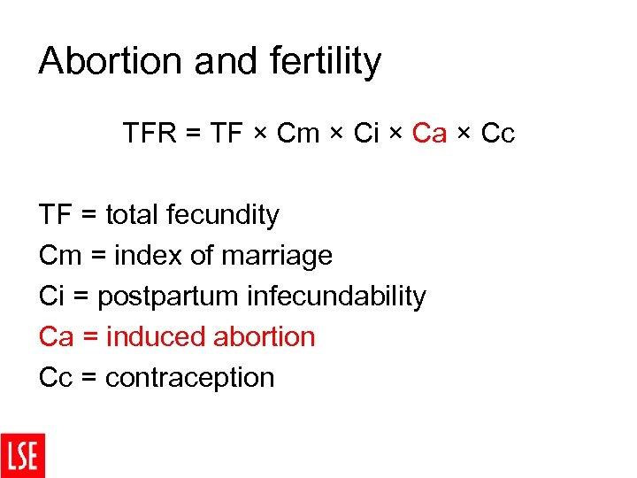 Abortion and fertility TFR = TF × Cm × Ci × Ca × Cc