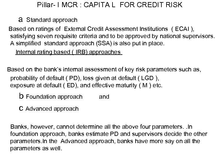 Pillar- I MCR : CAPITA L FOR CREDIT RISK a Standard approach Based on
