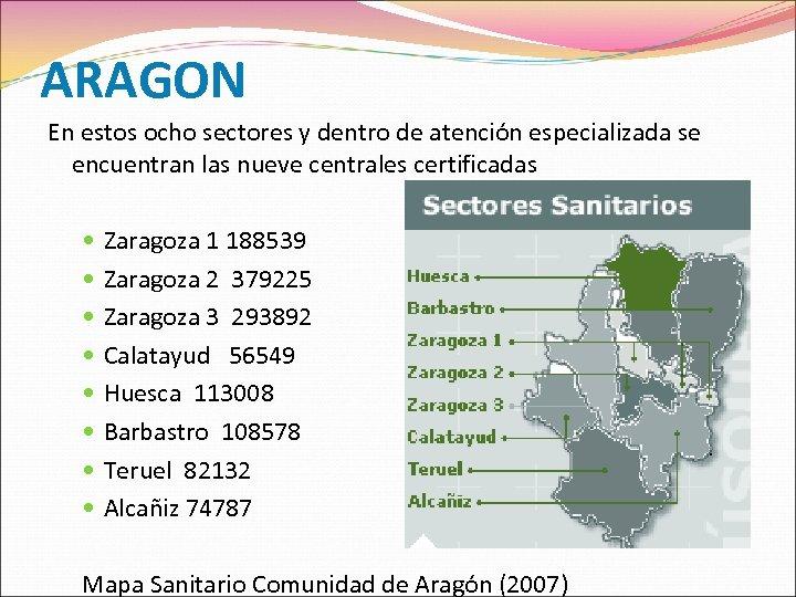 ARAGON En estos ocho sectores y dentro de atención especializada se encuentran las nueve