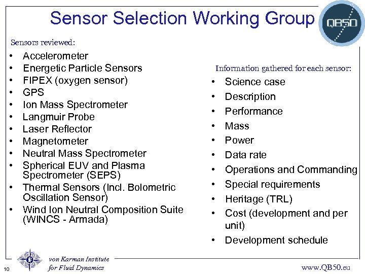 Sensor Selection Working Group Sensors reviewed: • • • Accelerometer Energetic Particle Sensors FIPEX