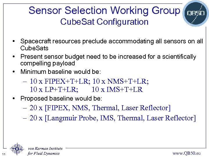Sensor Selection Working Group Cube. Sat Configuration • Spacecraft resources preclude accommodating all sensors