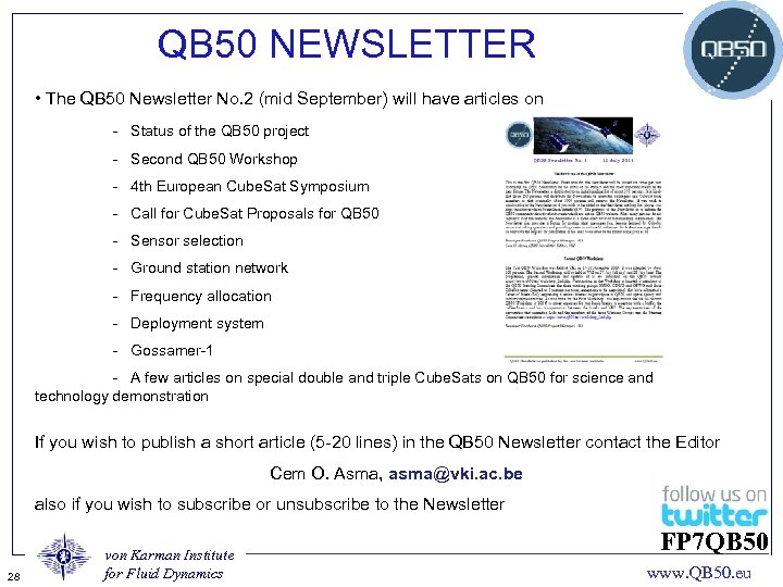 QB 50 NEWSLETTER • The QB 50 Newsletter No. 2 (mid September) will have