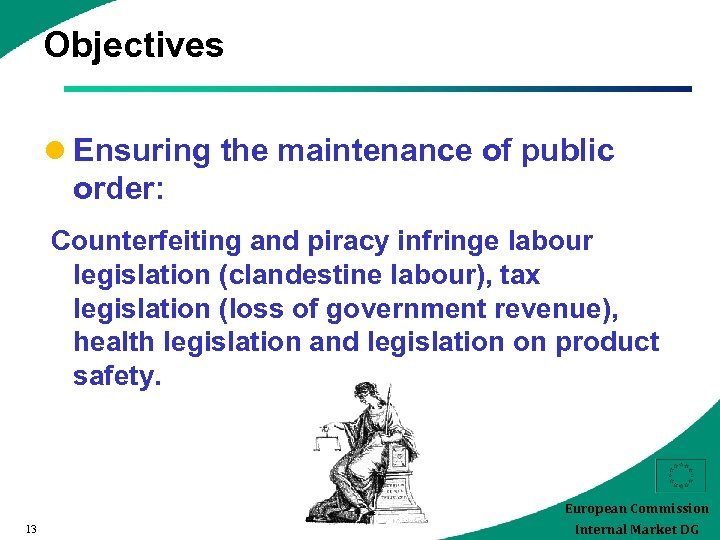 Objectives l Ensuring the maintenance of public order: Counterfeiting and piracy infringe labour legislation
