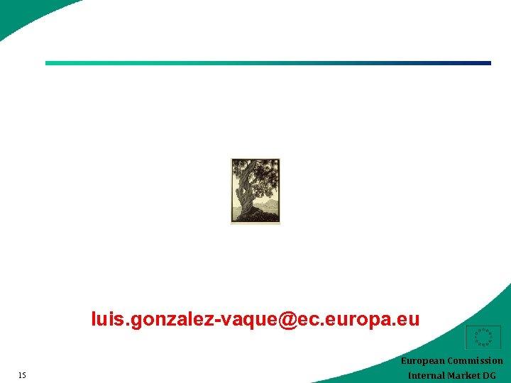 luis. gonzalez-vaque@ec. europa. eu European Commission 15 Internal Market DG